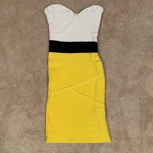 Yellow Black White Strapless bebe Bandage Dress XS